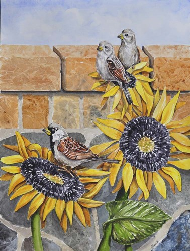 House Sparows with Sunflowers art print by Charlsie Kelly for $32.50 CAD