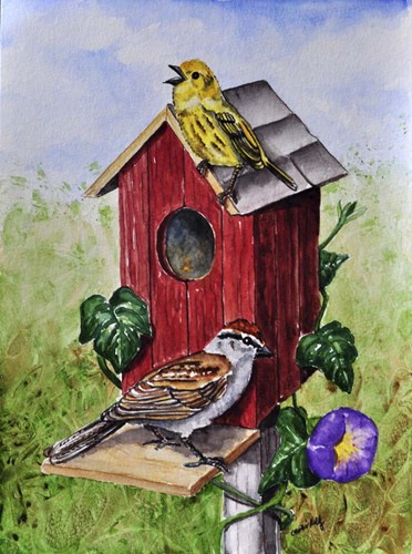Chipping Sparrow and Yellow Warbler art print by Charlsie Kelly for $33.75 CAD