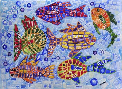 Tropical Fish art print by Charlsie Kelly for $35.00 CAD