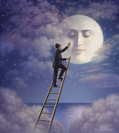 Man With Moon art print by Dan Craig for $37.50 CAD