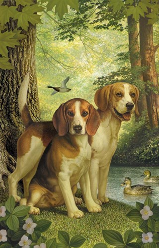 Beagles And Duck art print by Dan Craig for $63.75 CAD