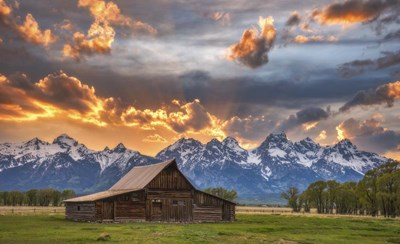 Moulton Barn Sunset Fire art print by Darren White Photography for $42.50 CAD