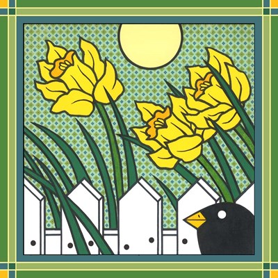 Daffodils 2 With Kernal The Crow art print by Denny Driver for $35.00 CAD