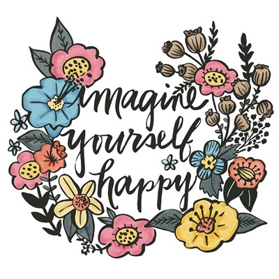 Imagine Yourself Happy Color art print by Elizabeth Caldwell for $35.00 CAD