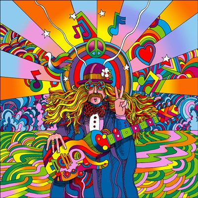 Hippie Musician art print by Howie Green for $98.75 CAD