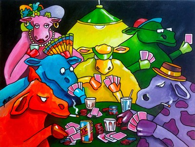 Cows Poker art print by Howie Green for $90.00 CAD