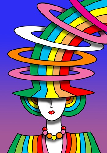 Lady Rainbow Hat art print by Howie Green for $98.75 CAD
