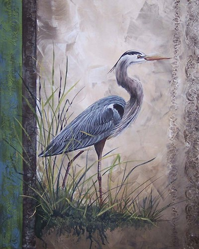 In The Reeds - Blue Heron art print by Jean Plout for $56.25 CAD