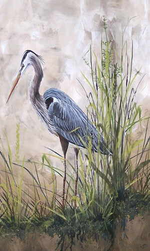 In The Reeds - Blue Heron - B art print by Jean Plout for $47.50 CAD