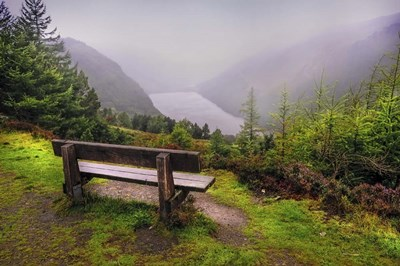 Bench Over the Upper Lake in Glendalough Ireland art print by Jenny Rainbow Fine Art for $43.75 CAD