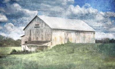 Old White Barn and Blue Sky art print by Katrina Jones for $76.25 CAD