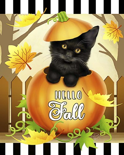 Hello Fall Cat art print by Melissa Dawn for $40.00 CAD