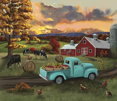 Barn Fall Leaves Sunset art print by Nick Kratz for $58.75 CAD