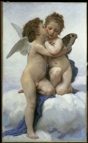 First Kiss art print by William Adolphe Bouguereau for $46.25 CAD