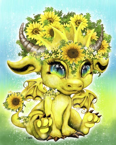 Sunflower Lil DragonZ art print by Sheena Pike Art And Illustration for $56.25 CAD