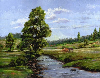 Meadow & Horses art print by Thomas Linker for $48.75 CAD