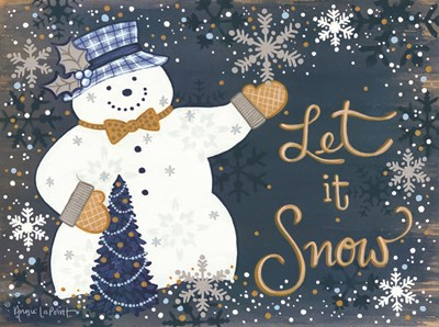 Snowy Christmas Snowman art print by Annie Lapoint for $41.25 CAD