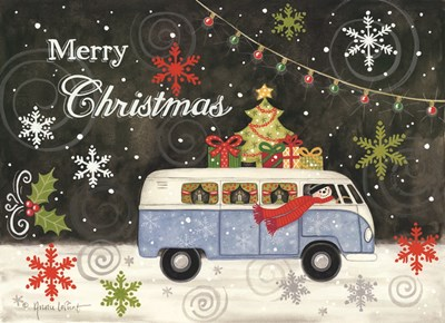 VW Christmas Bus art print by Annie Lapoint for $40.00 CAD