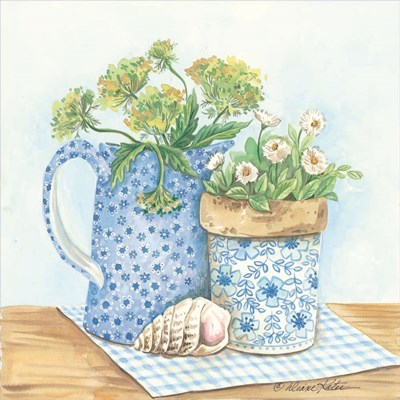 Blue and White Pottery with Flowers I art print by Diane Kater for $35.00 CAD