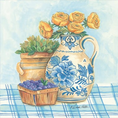 Blue and White Pottery with Flowers II art print by Diane Kater for $35.00 CAD
