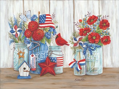 Patriotic Glass Jars with Flowers art print by Diane Kater for $67.50 CAD