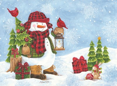 Lodge Snowman art print by Diane Kater for $40.00 CAD