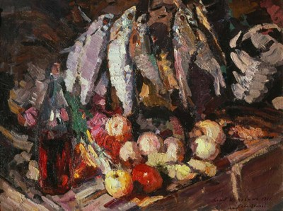 Still Life with Fish, Wine, and Fruit art print by Konstantin Korovin for $51.25 CAD