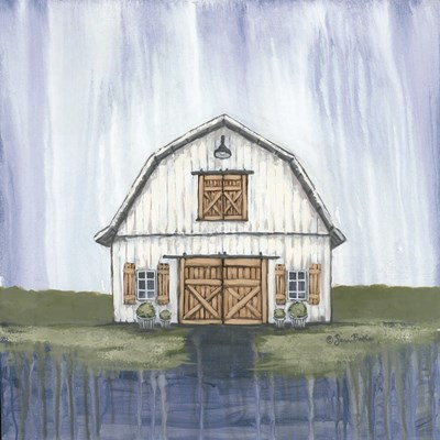 White Garden Barn art print by Sara Baker for $56.25 CAD