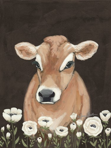 Cow With Flowers art print by Sara Baker for $57.50 CAD