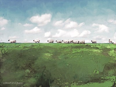 Distant Hillside Sheep by Day art print by Bluebird Barn for $41.25 CAD