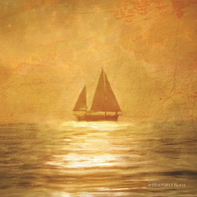 Solo Gold Sunset Sailboat art print by Bluebird Barn for $96.25 CAD