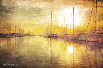 Yellow Sunset Boats in Marina art print by Bluebird Barn for $62.50 CAD