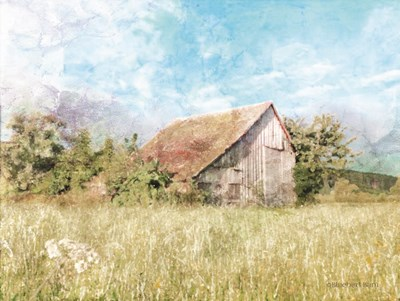 Spring Green Meadow by the Old Barn art print by Bluebird Barn for $41.25 CAD