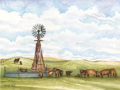 Pasture Cows art print by Cindy Jacobs for $67.50 CAD