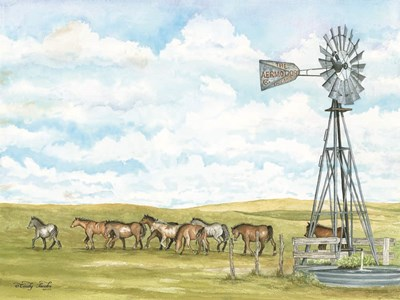 Pasture Horses art print by Cindy Jacobs for $67.50 CAD