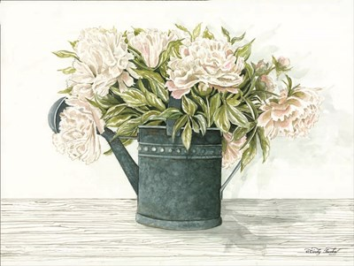 Galvanized Watering Can Peonies art print by Cindy Jacobs for $41.25 CAD