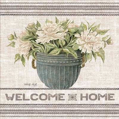Galvanized Peonies Welcome Home art print by Cindy Jacobs for $41.25 CAD