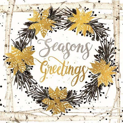Seasons Greetings Birch Wreath art print by Cindy Jacobs for $35.00 CAD