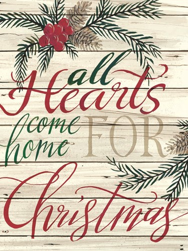 All Hearts Come Home for Christmas Shiplap art print by Cindy Jacobs for $41.25 CAD