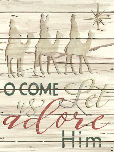 Come Let Us Adore Him Shiplap art print by Cindy Jacobs for $41.25 CAD