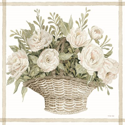 Basket of Peonies art print by Cindy Jacobs for $56.25 CAD