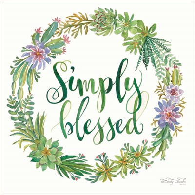 Simply Blessed Succulent Wreath art print by Cindy Jacobs for $35.00 CAD