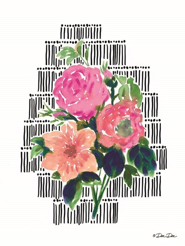 Watercolor Floral with Black Lines art print by Dee Dee for $41.25 CAD