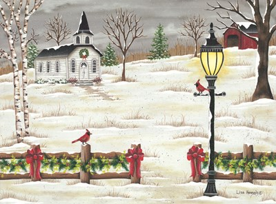Christmas Lamppost art print by Lisa Kennedy for $41.25 CAD