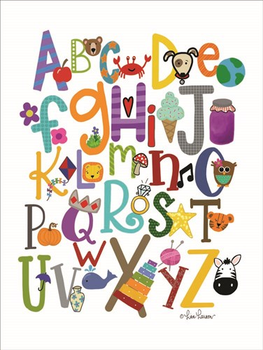 Colorful Alphabet art print by Lisa Larson for $41.25 CAD