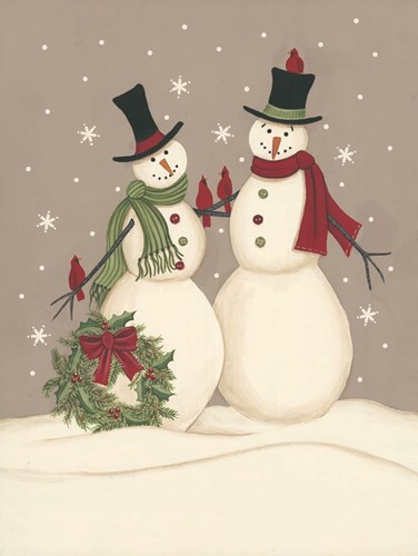 Wreath & Cardinal Snowmen art print by Linda Spivey for $41.25 CAD