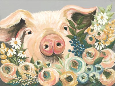 Pig in the Flower Garden art print by Michele Norman for $41.25 CAD