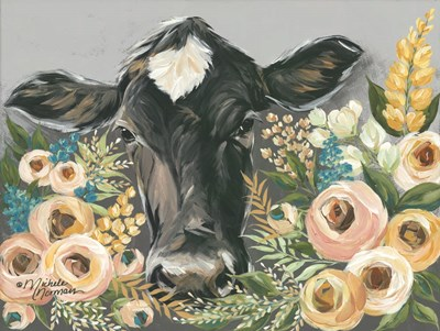 Cow in the Flower Garden art print by Michele Norman for $41.25 CAD