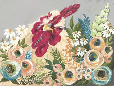 Hen in the Flower Garden art print by Michele Norman for $41.25 CAD