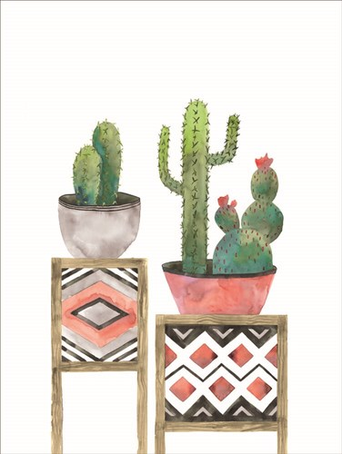 Cactus Tables with Coral art print by Masey St. Studios for $41.25 CAD